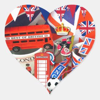 Brittiska souvenir hjärtformat klistermärke