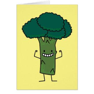 Broccoli som böjer den lyckliga grönsaken för hälsningskort