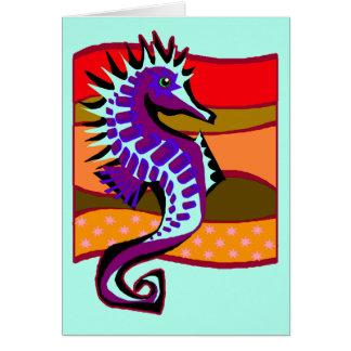 Broddad purpurfärgad Seahorse Hälsningskort