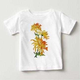 Broderad guld- kinesisk Chrysanthemum T-shirt