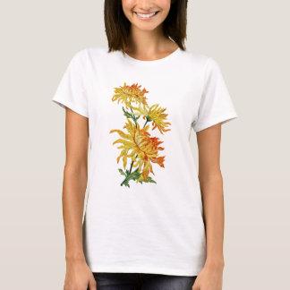 Broderad guld- kinesisk Chrysanthemum Tshirts