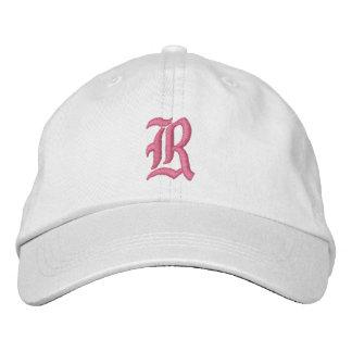 Broderad hatt för brev R Monogram Broderad Keps