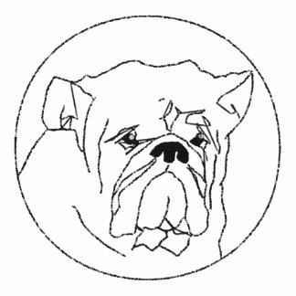 Broderad T-tröja för bulldoggdamlångärmad