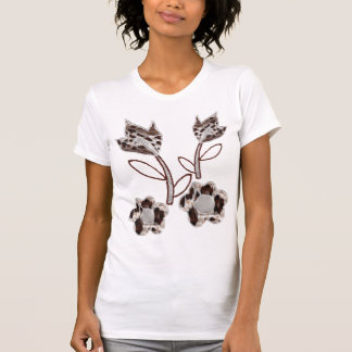 Broderade blommadesigner t shirts