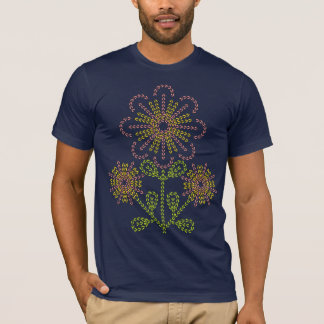 broderade blommor t-shirt