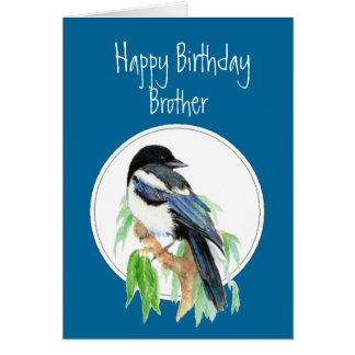 Broderfödelsedagskata, fågel, natur hälsningskort