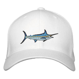 Broderi för Marlin för sportfiskeblått Broderad Keps