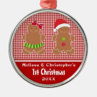 Broderlig twillingarbaby första prydnad för jul julgransprydnad metall