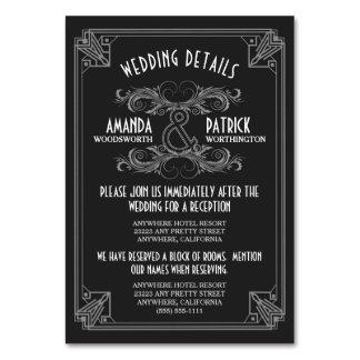 Bröllop för art décovintagesvarten sätter in kort