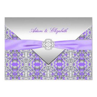Bröllop för band för diamant för lavendellilasnöre 12,7 x 17,8 cm inbjudningskort
