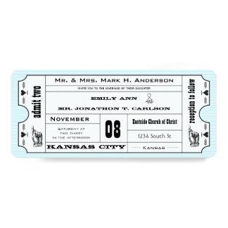 Bröllop för biljett för typografi för Aquavintage 10,2 X 23,5 Cm Inbjudningskort
