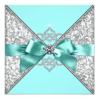 Bröllop för blått för vitdiamantkricka fyrkantigt 13,3 cm inbjudningskort