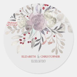 Bröllop för blom- vattenfärg för vintage botaniskt runt klistermärke