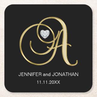 Bröllop för brev för Monogram för beställnings- Underlägg Papper Kvadrat