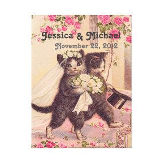 Bröllop för bröllopkattanpassadet daterar canvastryck
