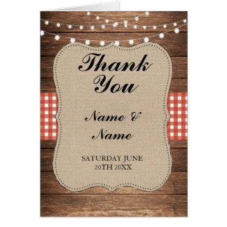 Bröllop för brud- röd kontroll för tackkort Wood Hälsningskort