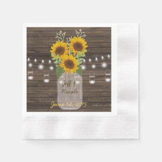 Bröllop för burk för Mason för solrosland Wood Pappersservett