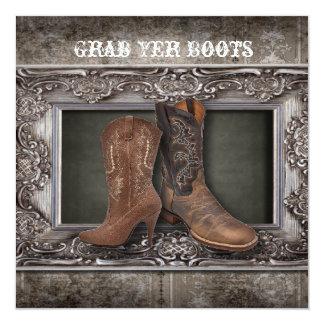 Bröllop för cowboy för westernt land för Grunge Fyrkantigt 13,3 Cm Inbjudningskort