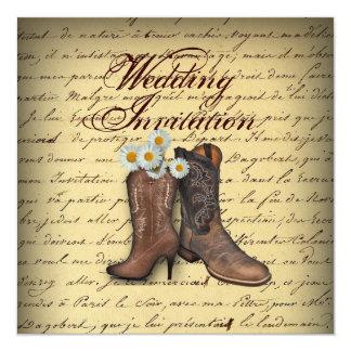 bröllop för cowboy för westernt land för vintage fyrkantigt 13,3 cm inbjudningskort