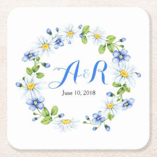 Bröllop för daisy för blåttvitMonogram blom- Underlägg Papper Kvadrat