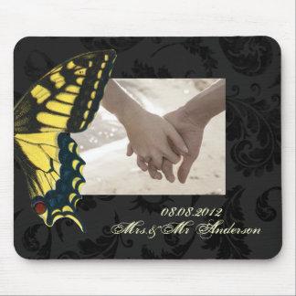 bröllop för fjäril för damastsvartgult mus matta