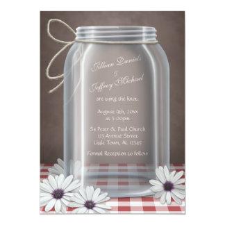 Bröllop för Gingham för daisy för landMasonburk 12,7 X 17,8 Cm Inbjudningskort