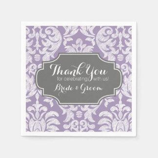 Bröllop för grå vintage för lilor tackar damastast pappersservetter