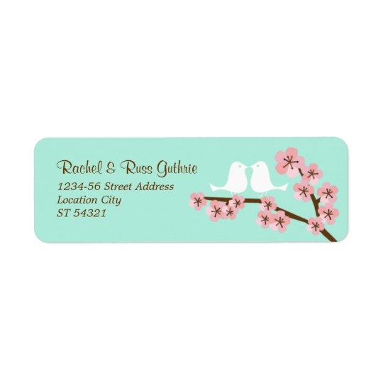 Bröllop för grön & rosa körsbärsröd blommar för returadress etikett