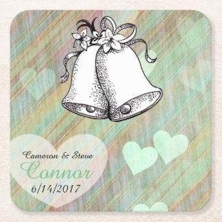 Bröllop för krickahjärtapersonligen sätta en underlägg papper kvadrat