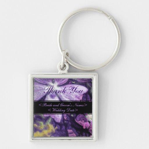 Bröllop för lilablommaillustration nyckel ring