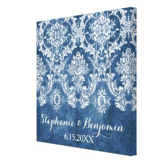 Bröllop för mönster för safirblått lantligt canvastryck