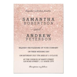Bröllop för ombre för rosa guld- fauxglitter rosa 12,7 x 17,8 cm inbjudningskort