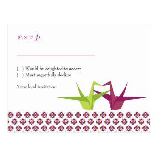 Bröllop för Origami papperskran Vykort