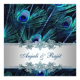 Bröllop för påfågel för blått för kungligt personliga inbjudan