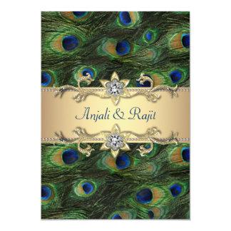 bröllop för påfågel för grönt för smaragd 5x7 12,7 x 17,8 cm inbjudningskort