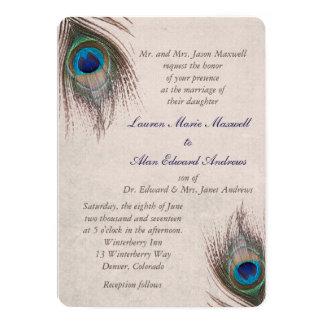 Bröllop för påfågelfjädergräns 12,7 x 17,8 cm inbjudningskort