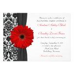 Bröllop för röd svart vit för Gerber daisy damasta Unika Inbjudningar