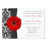 Bröllop för röd svart vit för Gerber daisy Unika Inbjudningar