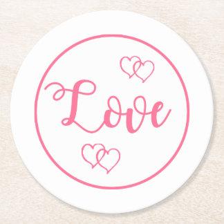 Bröllop för rosa- och vitkärlekhjärta, möhippa underlägg papper rund