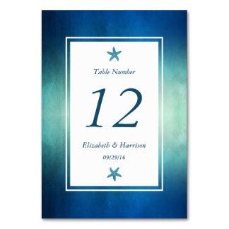 Bröllop för stranden för vattenfärghavsjöstjärnan bordsnummer