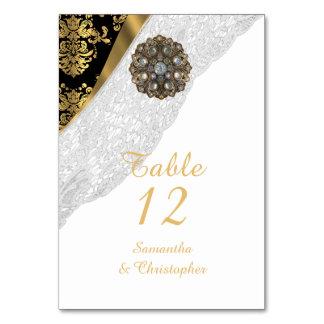 Bröllop för svart och guld- vintage för vitsnöre bordsnummer