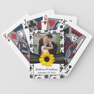 Bröllop för svart vit för solros som damastast spelkort