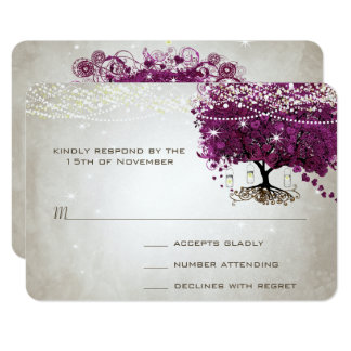 Bröllop för träd för Sangria för hjärtalöv mörkt 8,9 X 12,7 Cm Inbjudningskort