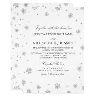 Bröllop för underland för silverglittervinter 12,7 x 17,8 cm inbjudningskort