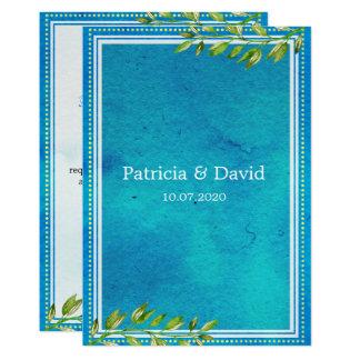 Bröllop för vattenfärg för blått för 12,7 x 17,8 cm inbjudningskort