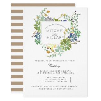 Bröllop för vattenfärg för suckulentträdgård   12,7 x 17,8 cm inbjudningskort