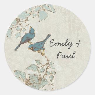Bröllop för vintagekrickafågeln förseglar runt klistermärke