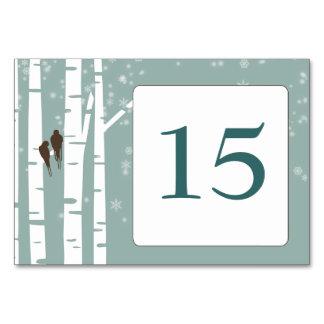 Bröllop för vinter för love birdsbjörkträd bordsnummer