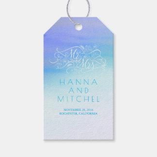 Bröllop för vit för typografi för blåttvattenfärg presentetikett