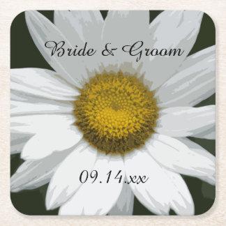 Bröllop för vitdaisyblomma underlägg papper kvadrat